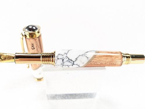 Hawaiian Koa & Marble Designer Retro Fountain Pen