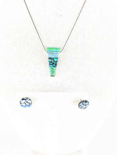 Dichroic Glass Pendant and Earring Set (green black)