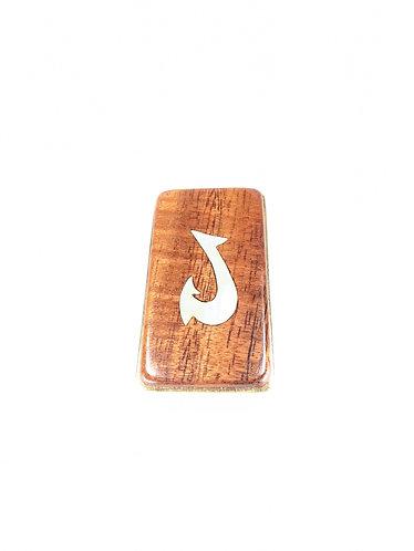 Koa Wood Money Clip with Shell Inlay (fish hook)