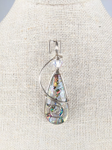 Dichroic Glass Wire Wrapped Pendant (Multi)