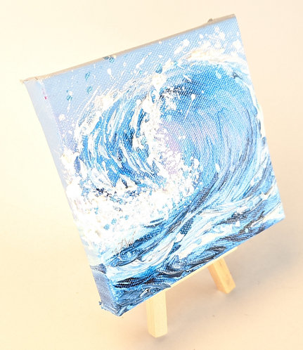 Mini Wave Painting w/ Easel (Blue)