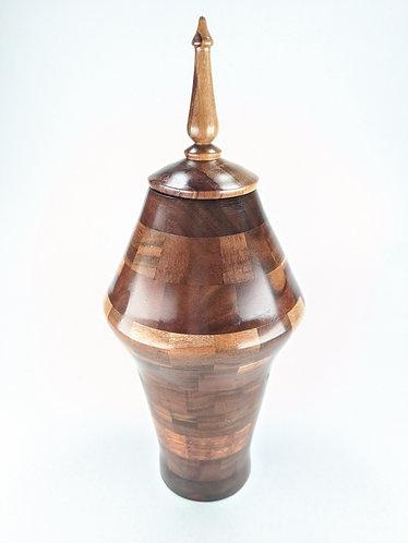 Segmented Hawaiian Koa Wood Vessel with Finial
