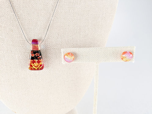 Dichroic Glass Pendant and Earring Set (Pink red)