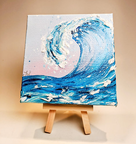 Mini Wave Painting w/ Easel (Pink)