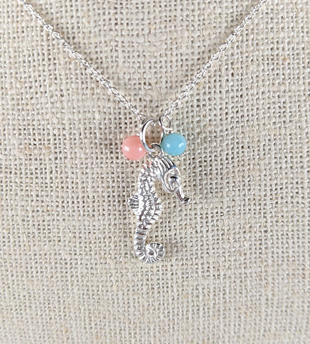 Sterling Silver Sea Horse Charm Necklace