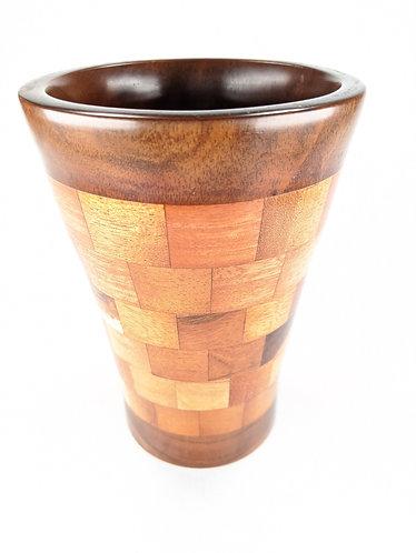 Segmented Hawaiian Koa Straight Vase