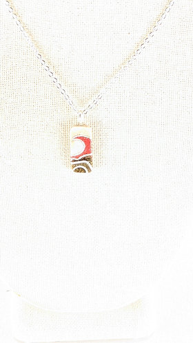 Small Sand Gems Rectangle Wave Necklace (red)