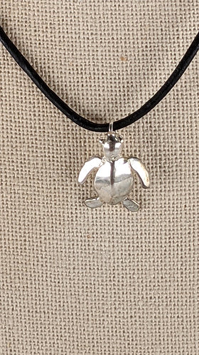 Solid Silver Turtle Necklace (leather)