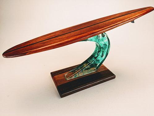 Koa Surfboard with Resin Wave