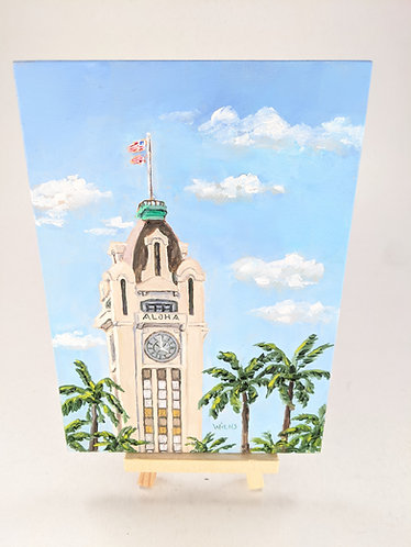 Aloha Tower Original Oil Painting w/ Easel