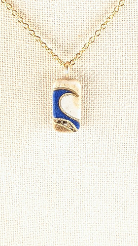 Small Sand Gems Rectangle Wave Necklace (dark blue)