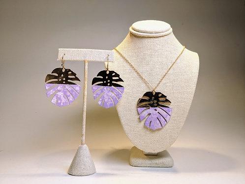 Monstera Earrings and Pendant Set (Lilac)