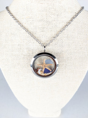 Large Locket and Chain (blue)