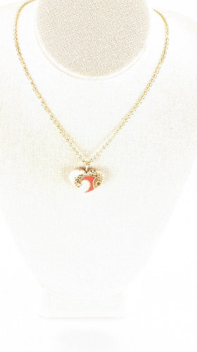 Small Sand Gems Heart Necklace (red)
