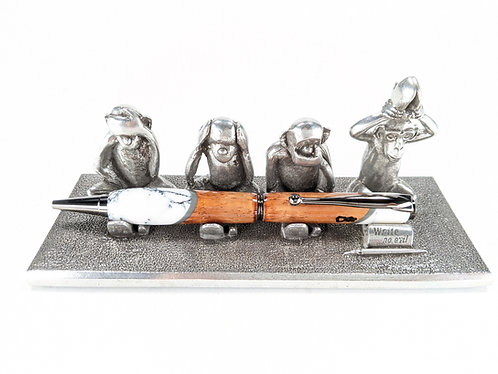 4 Monkeys Pewter Pen Stand