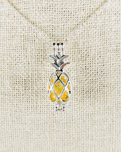 Sterling Silver Pineapple with Dichroic Glass Core(yellow)