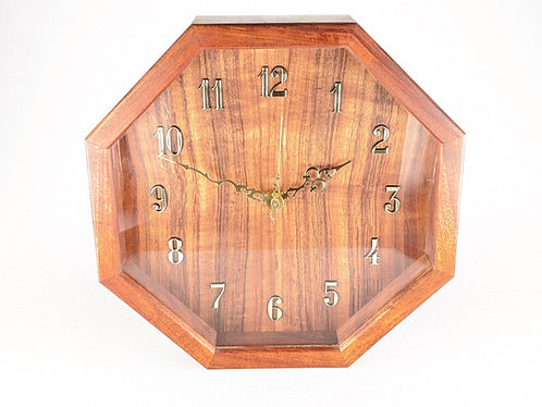 Hawaiian Koa Hex Wall Clock