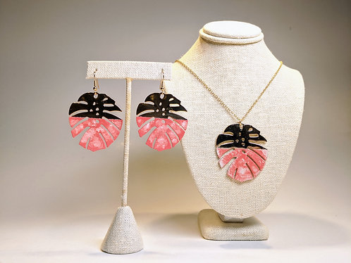 Monstera Earrings and Pendant Set (Coral)