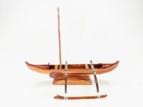 Hawaiian Koa Wood Fishing Canoe with Sail