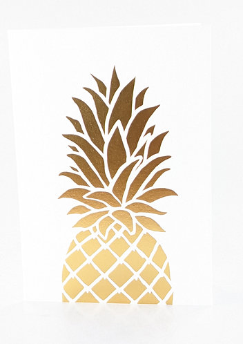 Gold Foil Note Card Set (Pineapple)