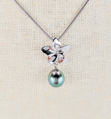 Small Plumeria Sterling Silver with Premium Tahitian Pearl Pendant