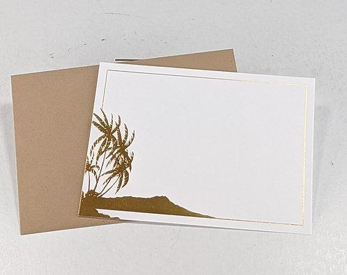 Gold Foil Note Card Set (Diamond Head)