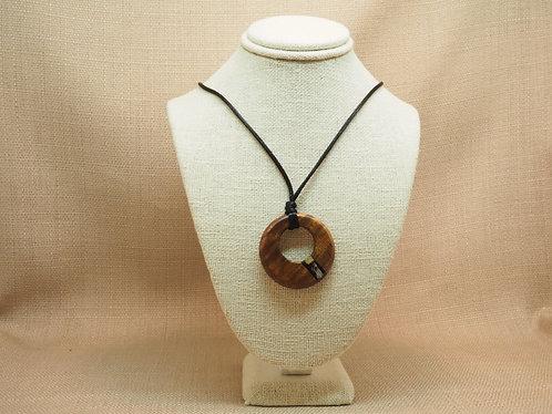 Koa Wood and Shell Inlay Circle Pendant