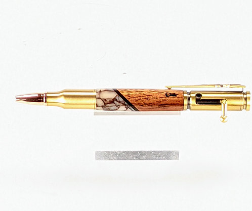 Hawaiian Koa & Italian Acrylic Designer Bolt Action Ballpoint (crackle)