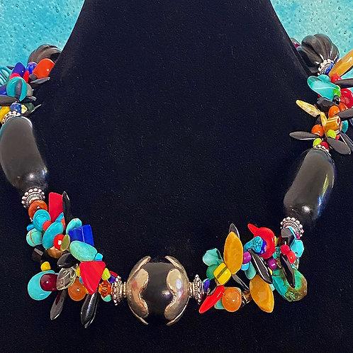 Multi Strand of Czech, Mali, Venetian Glass with Black Tibet Accentt