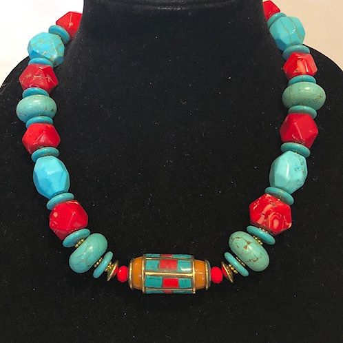 Tibet Accent Bead with Red Coral and Turquoise