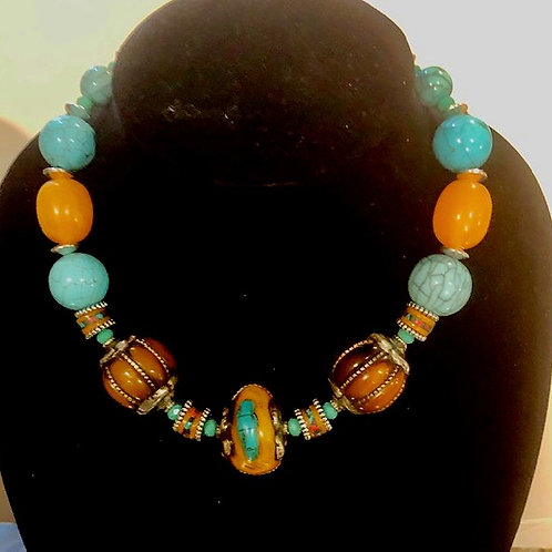 Tibet Inlay Accent beads with Chinese Turquoise