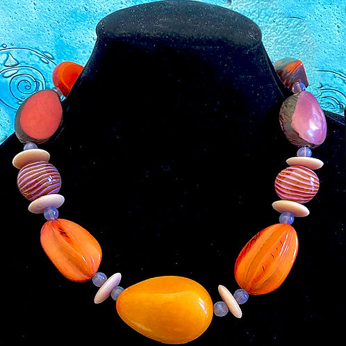 Tagua Nuts with Antique Glass spacer beads