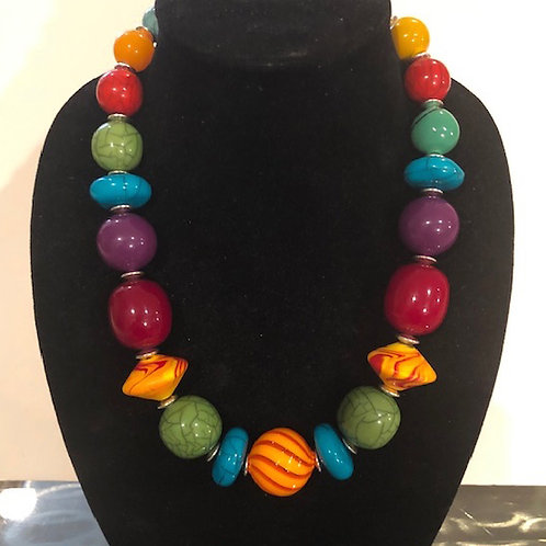 Graduated Tibet Colorful Beads with a Murano Glass Accent
