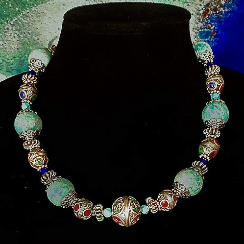 Graduated Moroccan Inlay beads with Chinese Turquoise