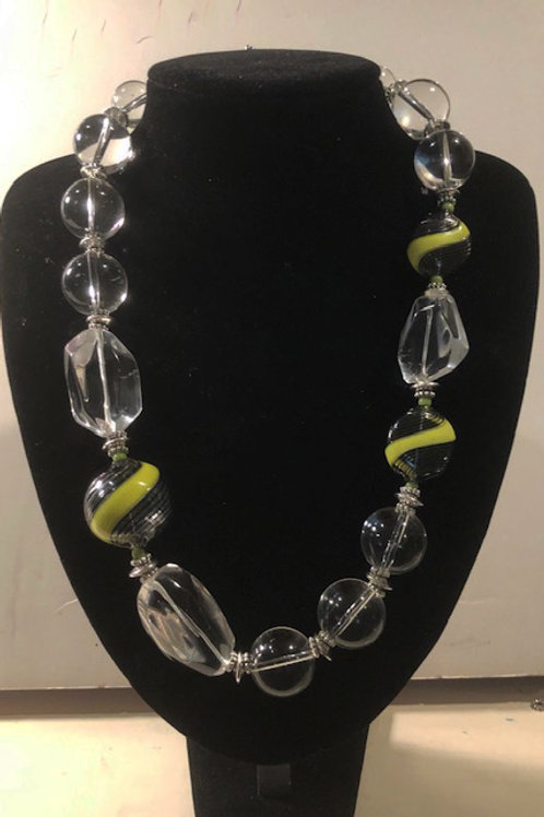 Crystal Quartz with Lime Green Murano Glass