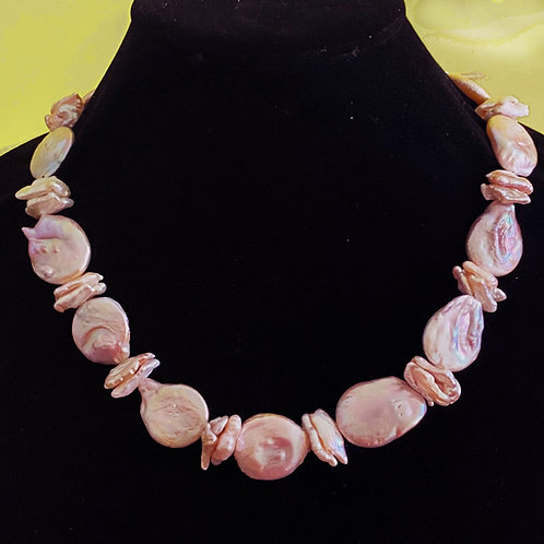 Pink Pecan & large Coin Pearls