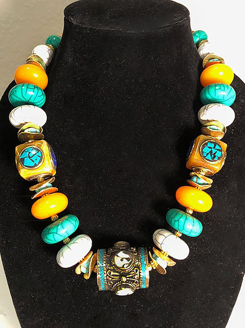 Assorted Tibetan Accents with Moroccan Beads