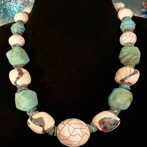 Conch Shell Inlay with Turquoise Resin
