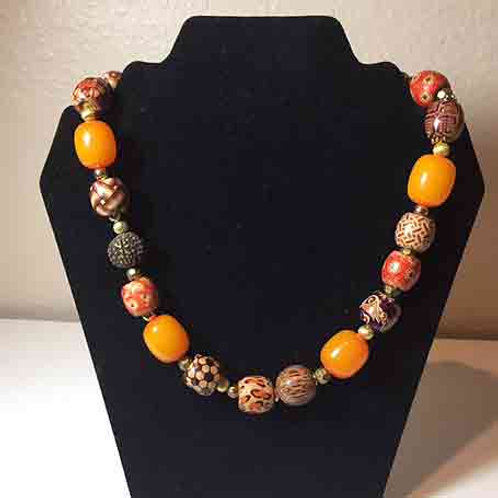 """Amber and African Painted beads   18"""""""