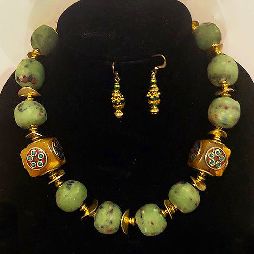 Ghana Green Glass Rounds with Golden discs