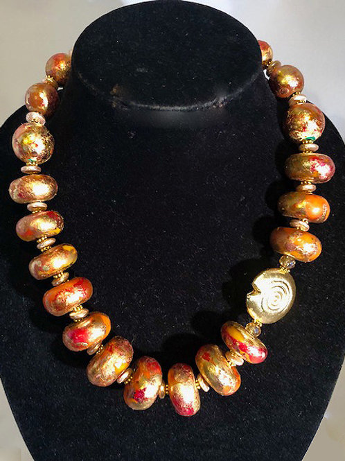 Hand Painted and Metal leafed Beads