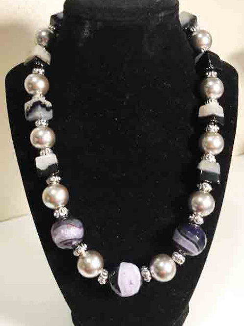 Gray Shell Pearls and Crystal Quartz Cubes