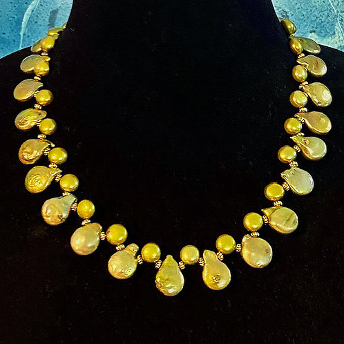 Assorted Yellow Green Freshwater Pearls