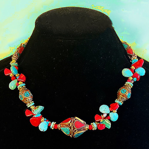 Tibet Inlay Beads with Red Coral and Turquoise