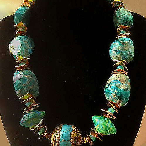 Chinese Turquoise, with Nepalese Turquoise Center Bead