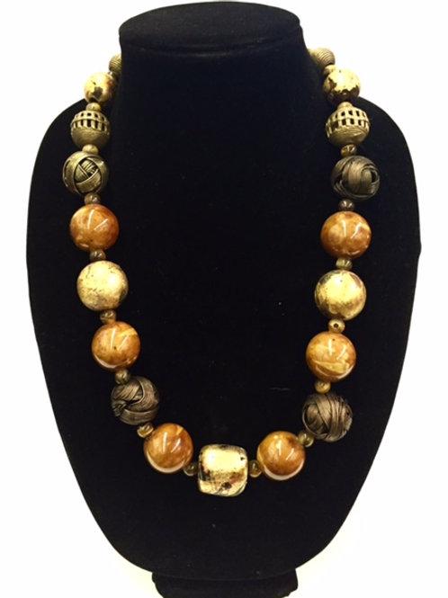 Long Bronze and Golden Beads