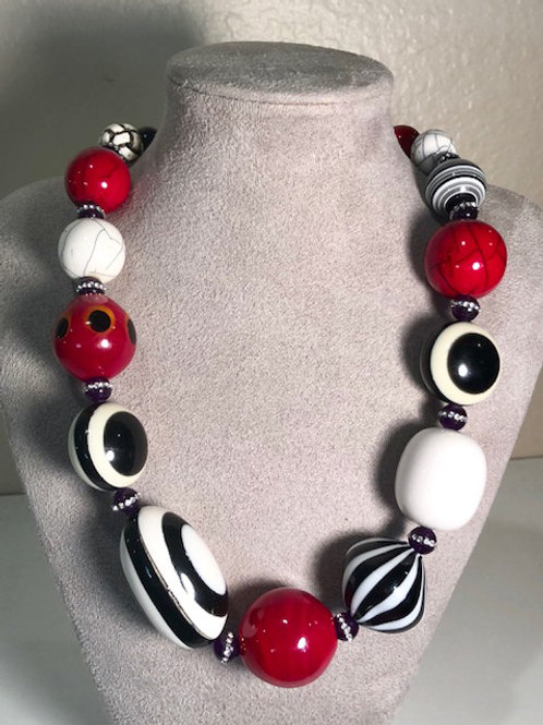 Black and White with Red Murano Glass Accents