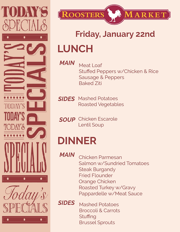 Today's Lunch & Dinner Specials Template
