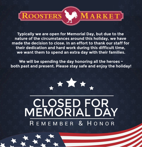 Closed for Memorial Day
