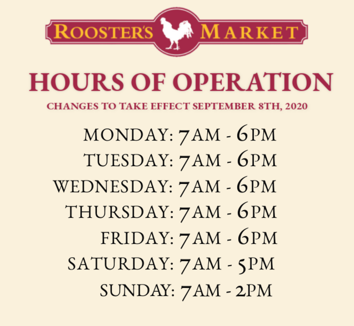 Revised Hours of Operation